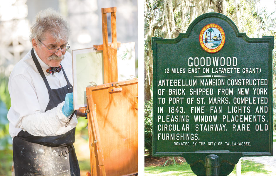 Split image of man painting and Goodwood description sign